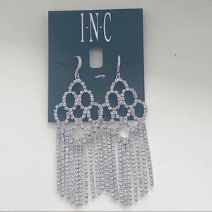 New with tags INC silver and crystal earrings
